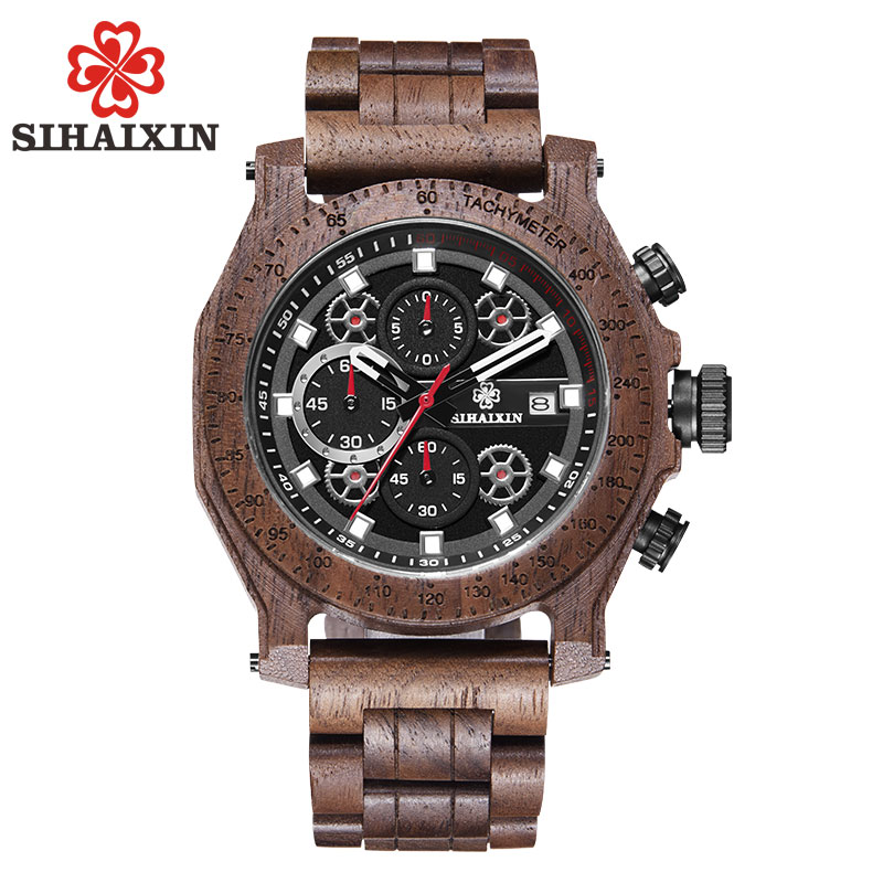 SIHAIXIN Watch Wood Men Sandalwood erkek kol saati Chronograph Date Display Waterproof Wooden Male Clock Quartz Military WatchesSIHAIXIN Watch Wood Men Sandalwood erkek kol saati Chronograph Date Display Waterproof Wooden Male Clock Quartz Military Watches