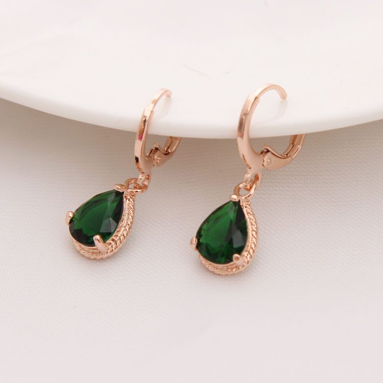 Gold Color Earrings Green Water Drop Cz Stone Pierced Dangle Women S Long Fashion Jewelry