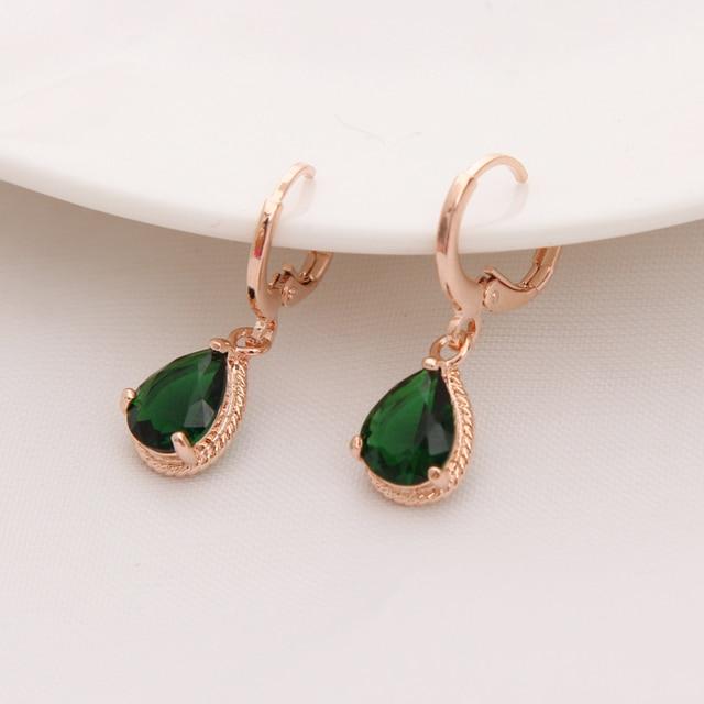 Us 0 9 15 Off Gold Color Earrings Green Water Drop Cz Stone Pierced Dangle Women S Long Fashion Jewelry In
