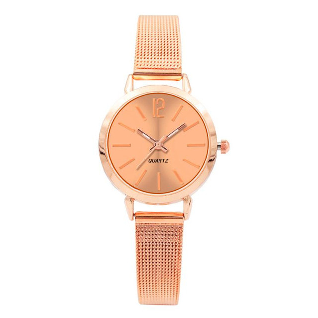 Fashion Luxury Brand Women Rose Gold Quartz Stainless Steel Wrist Watch Numbers