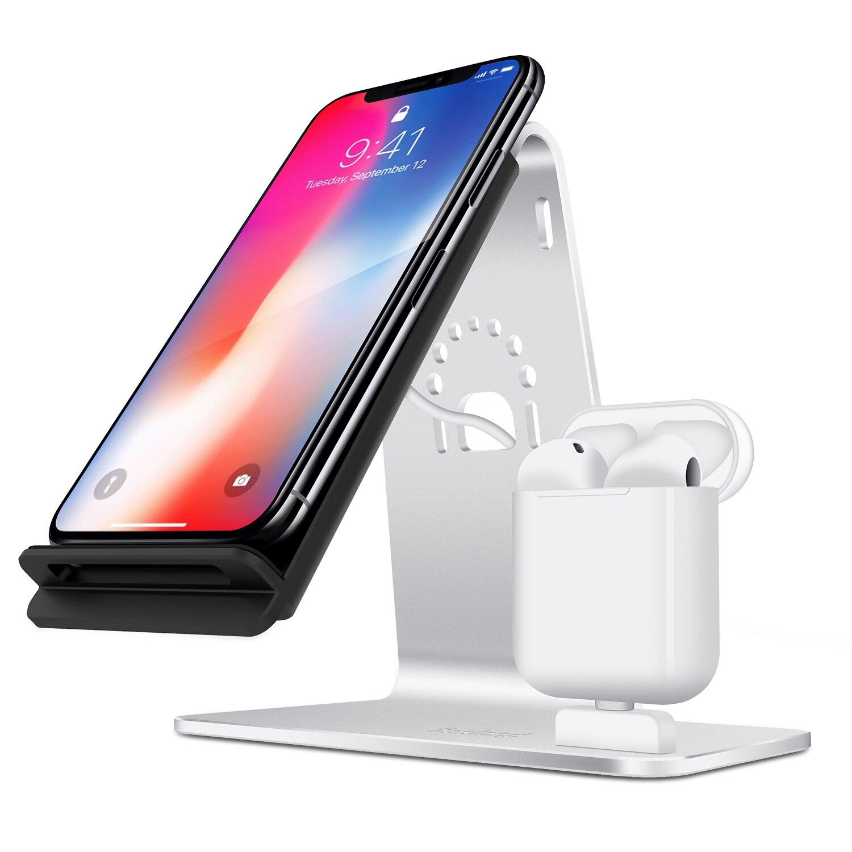 Station de charge en alliage d'aluminium 2 en 1 pour Apple Airpods Qi chargeur rapide sans fil Dock pour iPhone Samsung chargeur de bureau titulaire