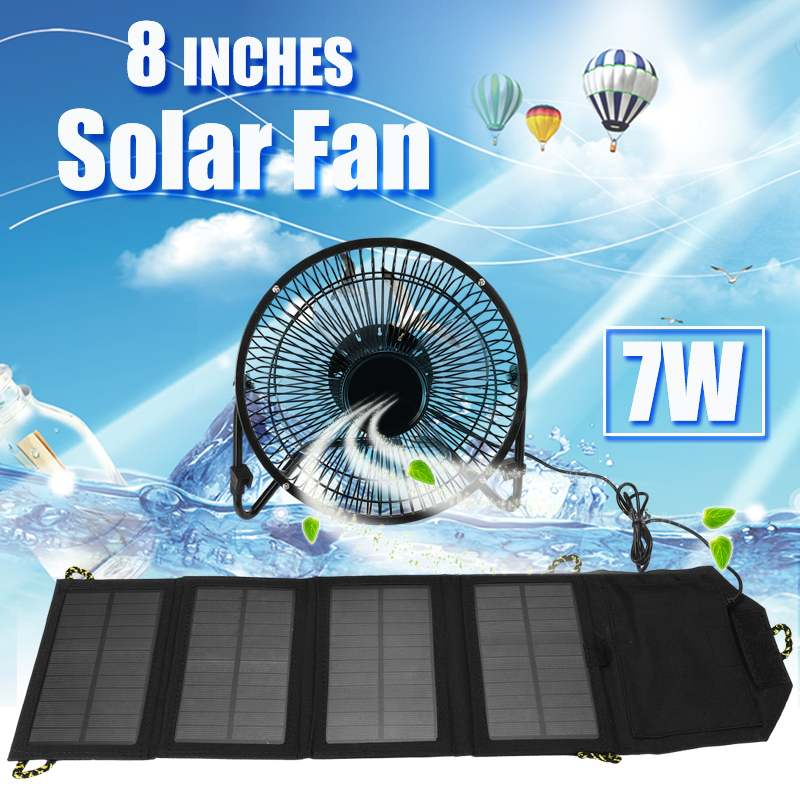 7W 8Inch USB Solar Panel Fan Cooling Ventilation Iron Powered Quiet Free Angle Adjust Charge Phone Powerbank PC Office Home Dorm