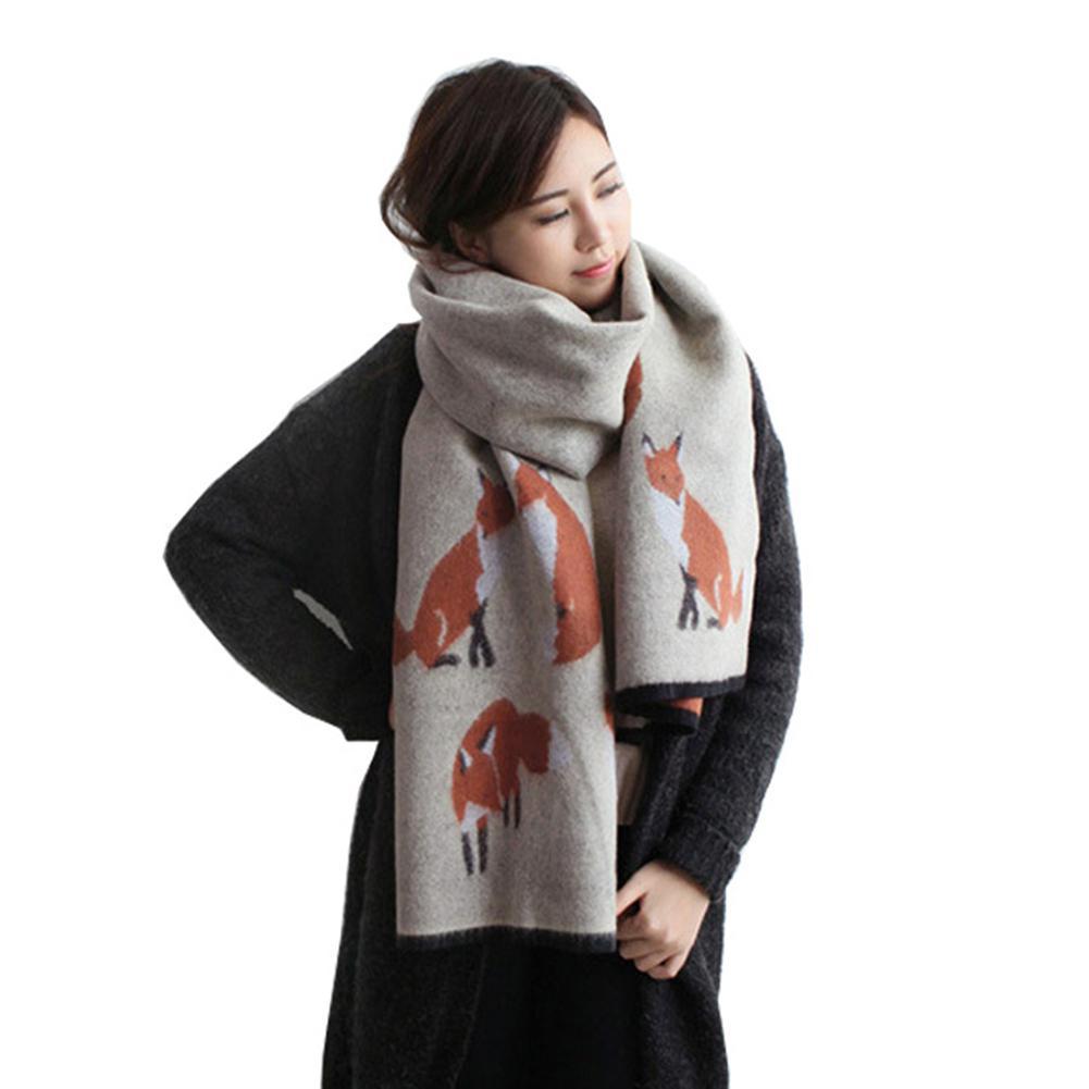 MISSKY Women Winter Warm Cashmere Scarf Fox Printed Thicken Shawl Fashion All-match Scarf Wrap