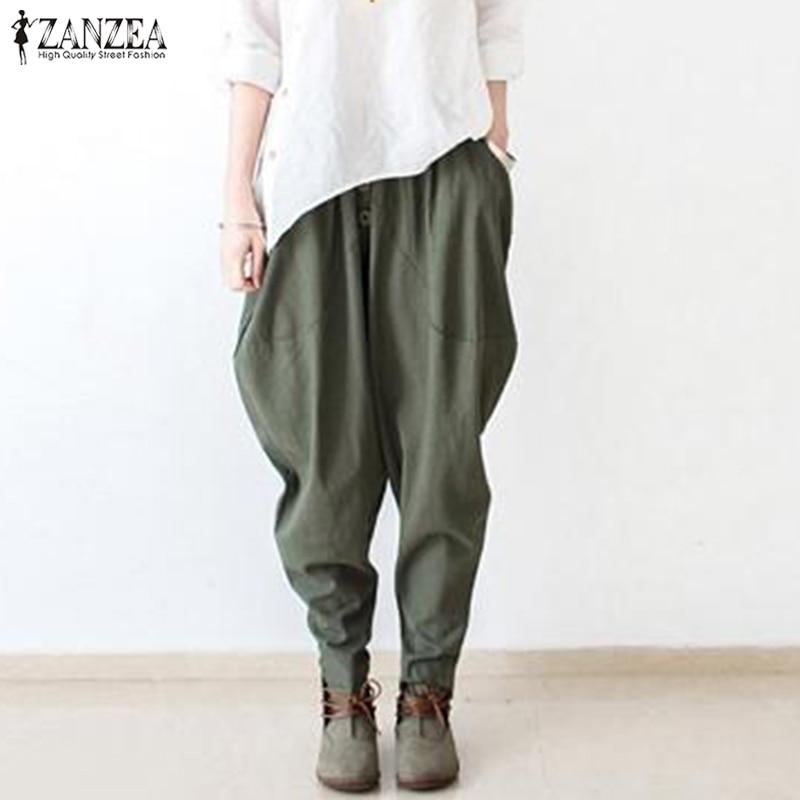 2019 ZANZEA Women Elastic Waist Cotton Linen Harem Pants Casual Solid Trousers Female Drop Crotch Pants Loose Pantalon Turnip