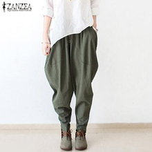 2020 ZANZEA Women Elastic Waist Cotton Linen Harem Pants Cas