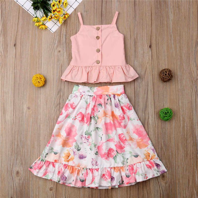 517e91a589986 Summer Pink T shirt Tops Floral Skirt Girl Clothing Cotton Outfits ...