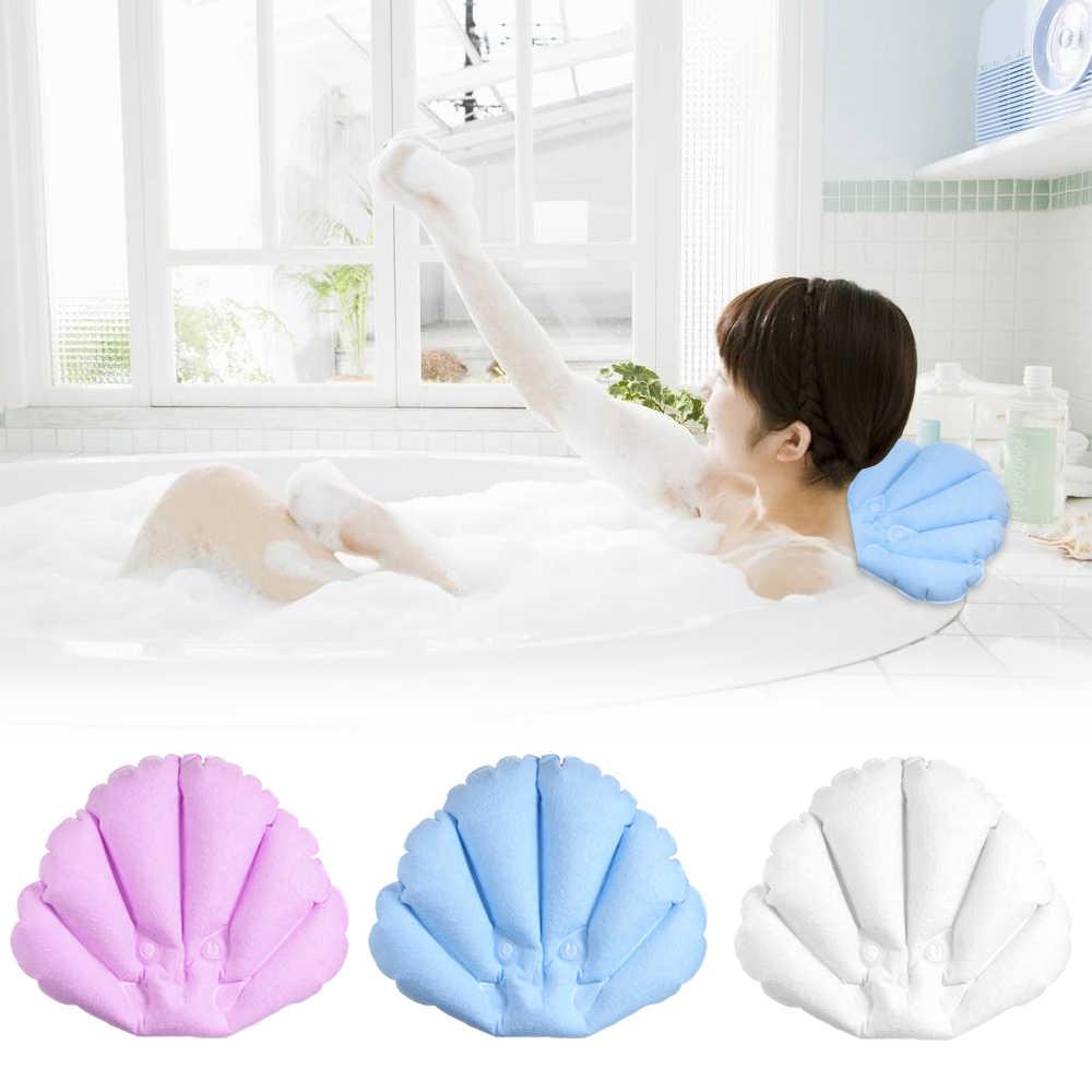 Strona główna dmuchane SPA poduszka do kąpieli przyssawki wanna poduszka w kształcie muszli do kąpieli zagłówek szyi poduszki akcesoria łazienkowe