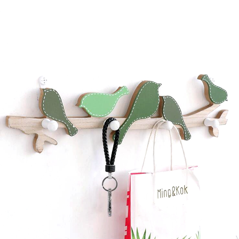 Nordic style idyllic wooden bird hooks Creative clothing store wall coat Living room porch key