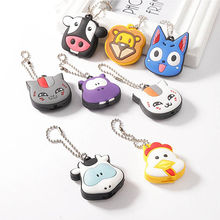 55a3cf1348a0 1pc Silicone Key Ring Cap Head Cover With Light Keychain Cartoon Animal  Shape Flexible rubber Key