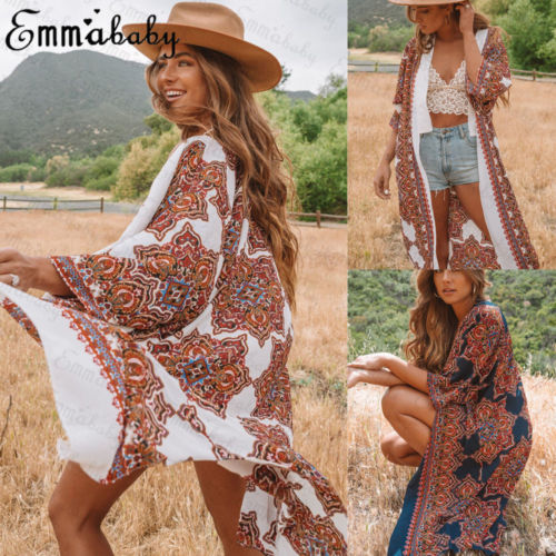 Womens Boho Kimono Cardigan Kaftan Fishing Net Summer Hot Ladies Shawl Coat Beach Swimwear Cover Up Blouse Top