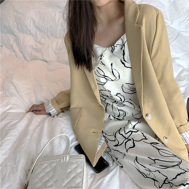 2019 Women Long Sleeve Loose Jacket Vintage Single Breasted Solid Blazers Spring Office Lady Thin Suit