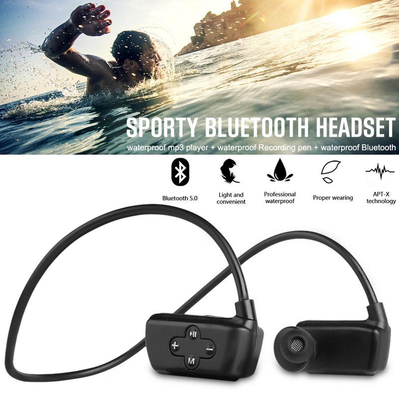 Bluetooth casque monté sur la tête MP3 IPX8 étanche natation téléphone enregistreur casque sans perte lecteur de musique