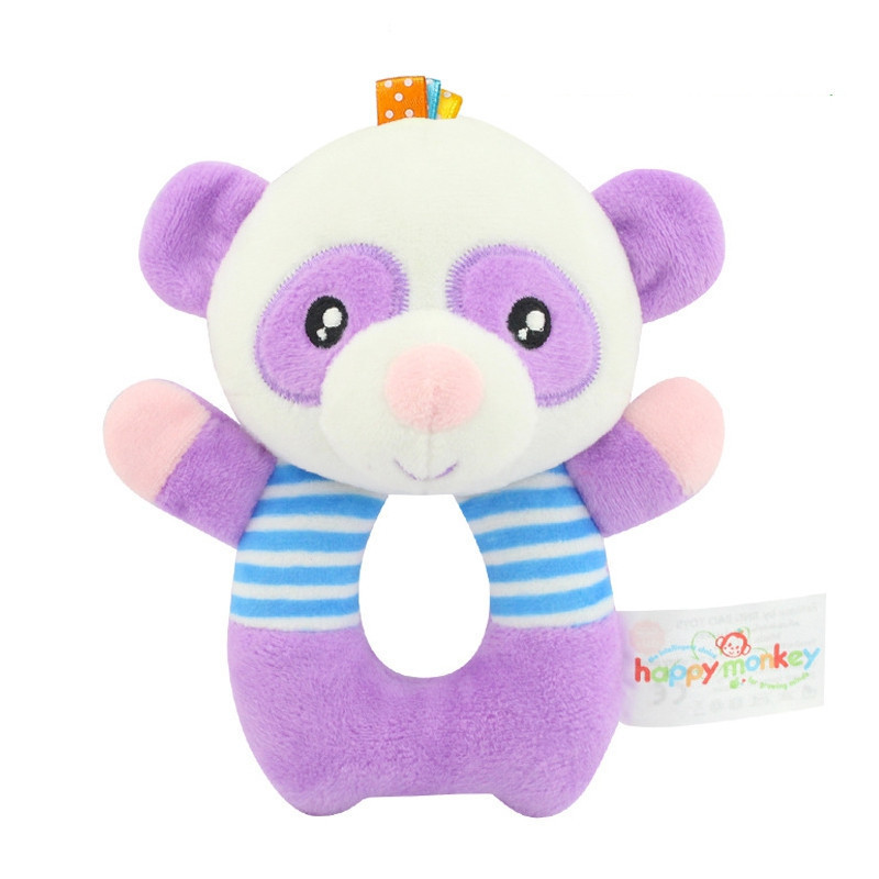 Baby Toddler Hand Rattle Cartoon Soft Animal Toy Boy Girl Plush Toys Hand Bell Newborn Puppy  Bear Cute Lion