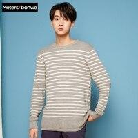 METERSBONWE New Winter Men Sweaters Round Neck Striped Sweater