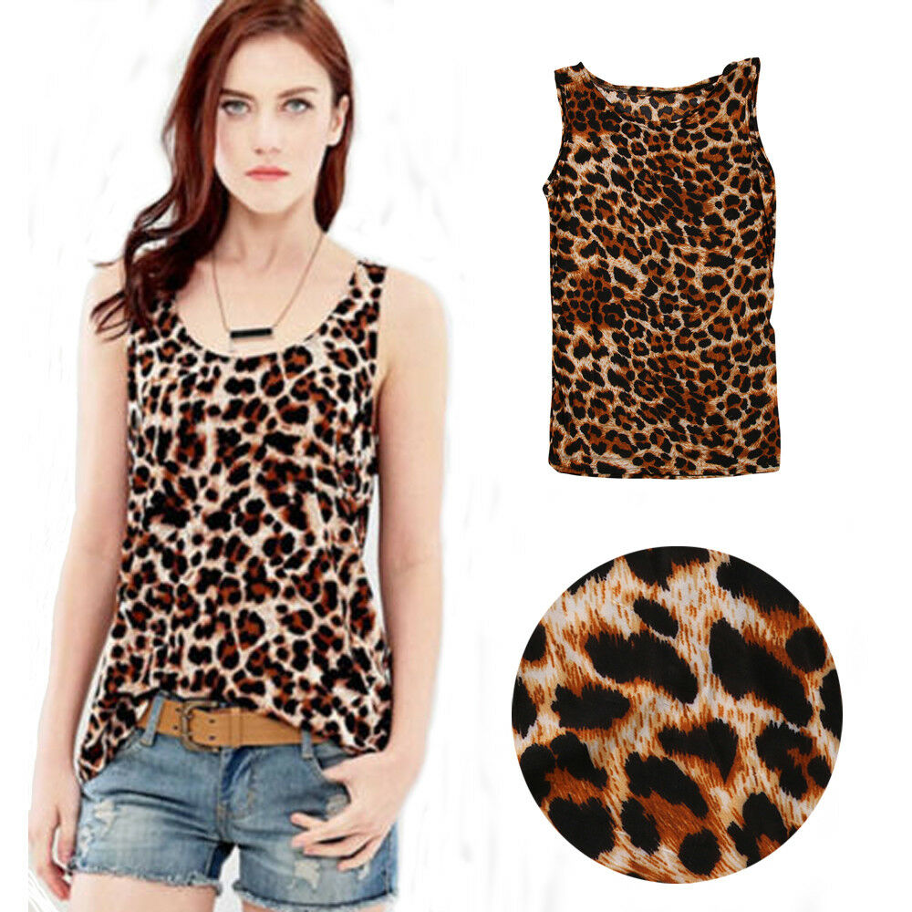 Ladies Casual Sleeveless Tanks Women Summer Sexy Cami Basic Leopard Print Tank Top Vest