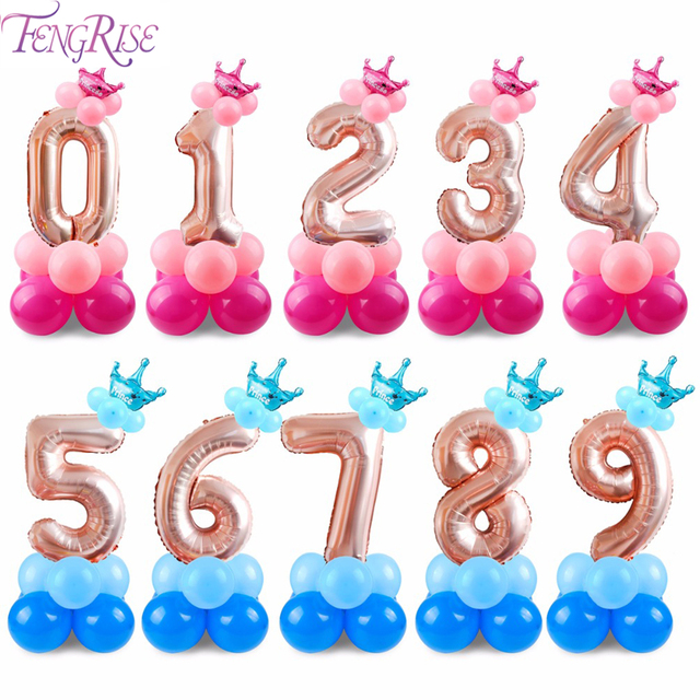 FENGRISE Happy Birthday Balloons Numbers Baloon 0 1 2 3 4 5 6 7 8 9 Ballon Boy Girl Baby Shower Party Decor Kids