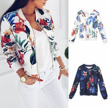 Hot Women Ladies Slim Flower Spring Autumn Classic Bomber Baseball Jacket Coat Clothes Outwear Zip Up Windbreaker недорого