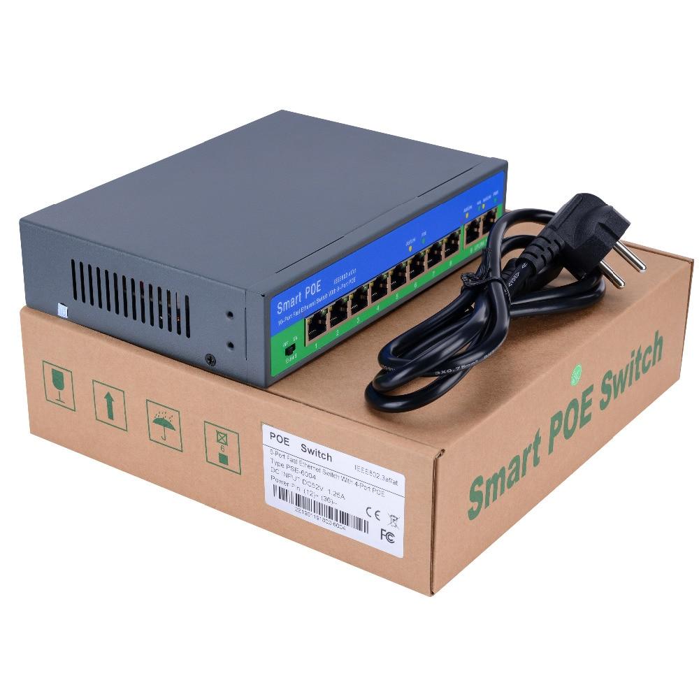 Commutateur Ethernet POE réseau YiiSPO avec 4 + 2/8 + 2 ports 10/100 Mbps Ports IEEE 802.3 af/à sortie standard POE 48 V pour caméra POE