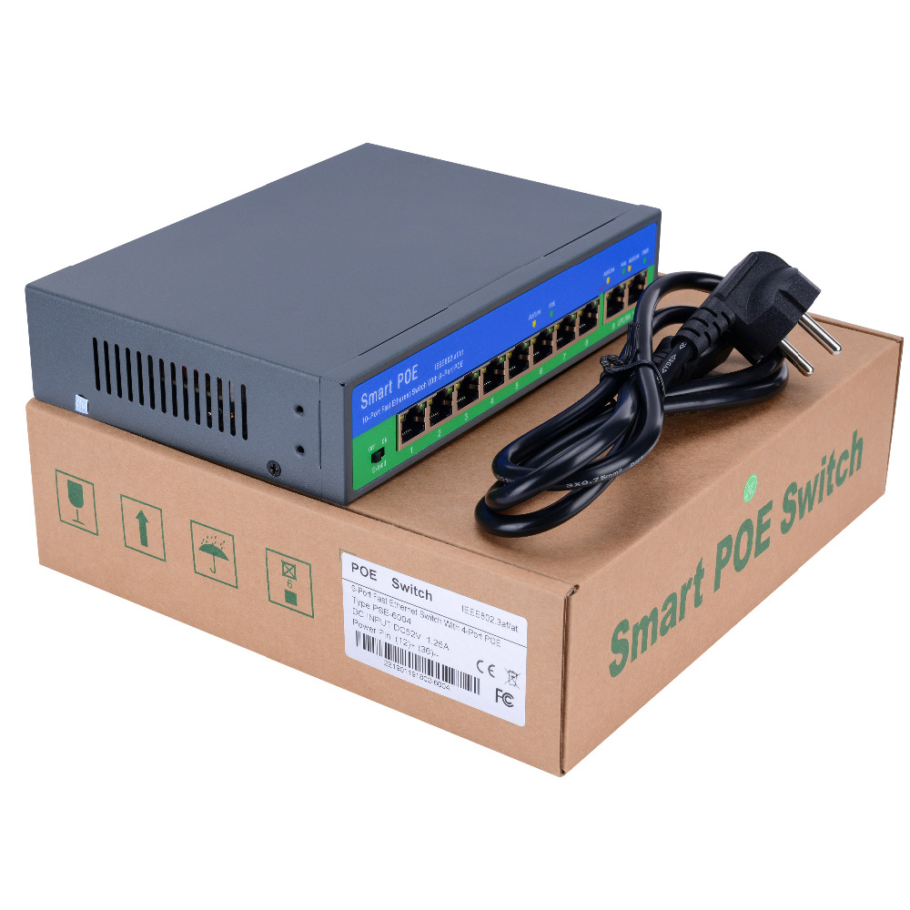 Ethernet do interruptor do ponto de entrada da rede de yiispo com 4 + 2/8 + 2 portos 10/100 mbps portos ieee 802.3 af/at padrão poe 48 v saída para a câmera do ponto de entrada