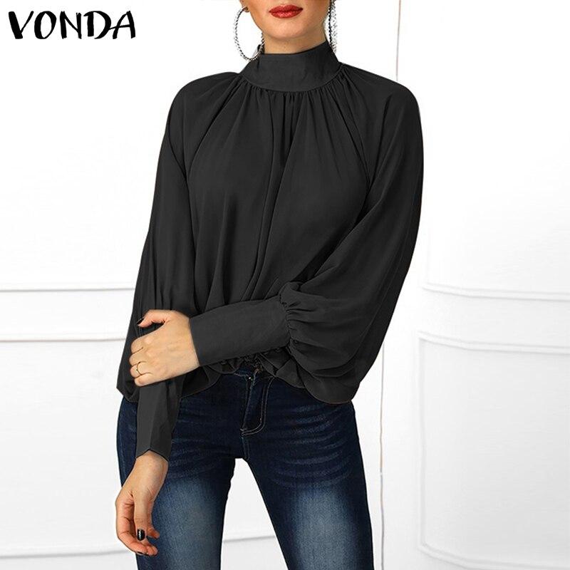 VONDA Plus Size Blouse Women 2019 Spring Tunic Sexy O Neck Long Lantern Sleeve Shirts Casual Loose Blouses Office Ladies Tops