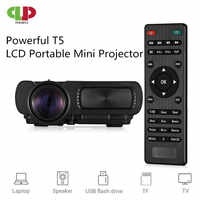 Potente LED para Proyector T5 MINI Proyector portátil 1000 Lumen completa HD teatro película Proyector apoyo 3D TF tarjeta