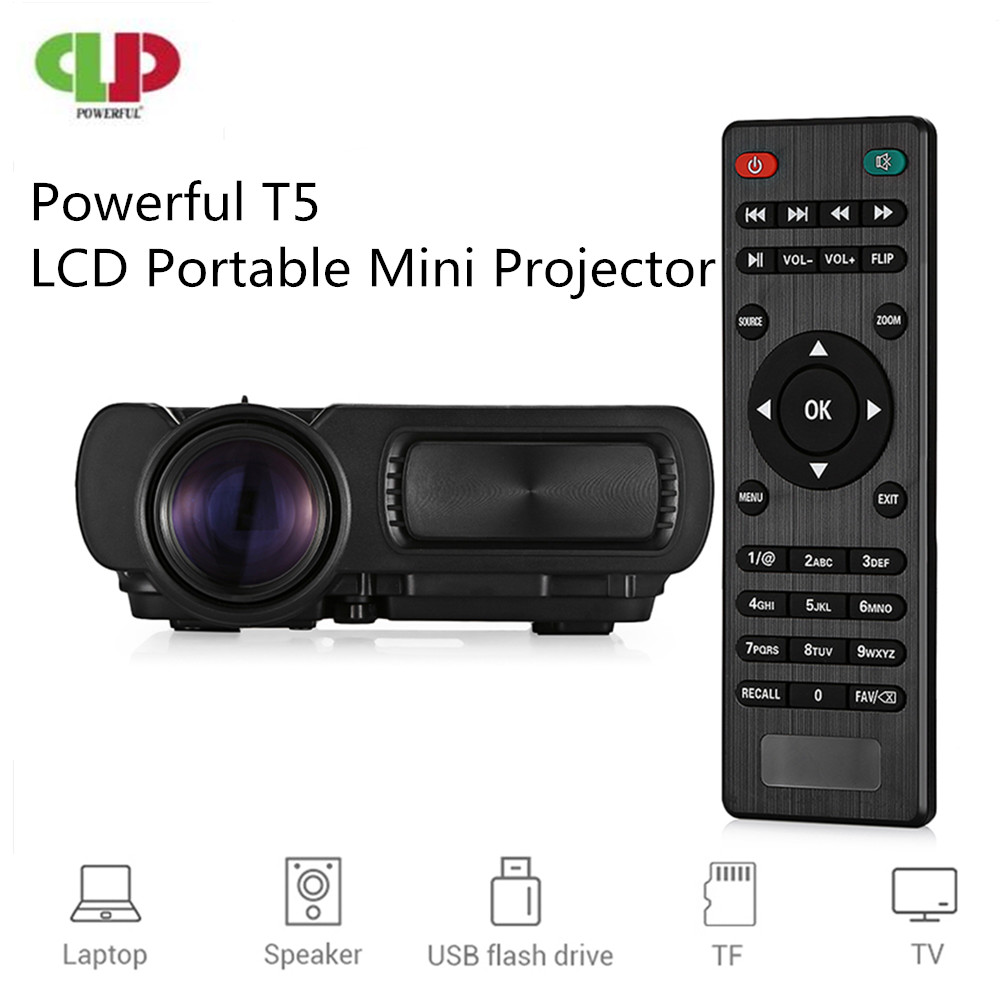 Powerful LED Projector T5 Portable MINI Projector 1000 Lumen Full HD Home Theatre Movie Beamer Proyector Support 3D TF CardPowerful LED Projector T5 Portable MINI Projector 1000 Lumen Full HD Home Theatre Movie Beamer Proyector Support 3D TF Card