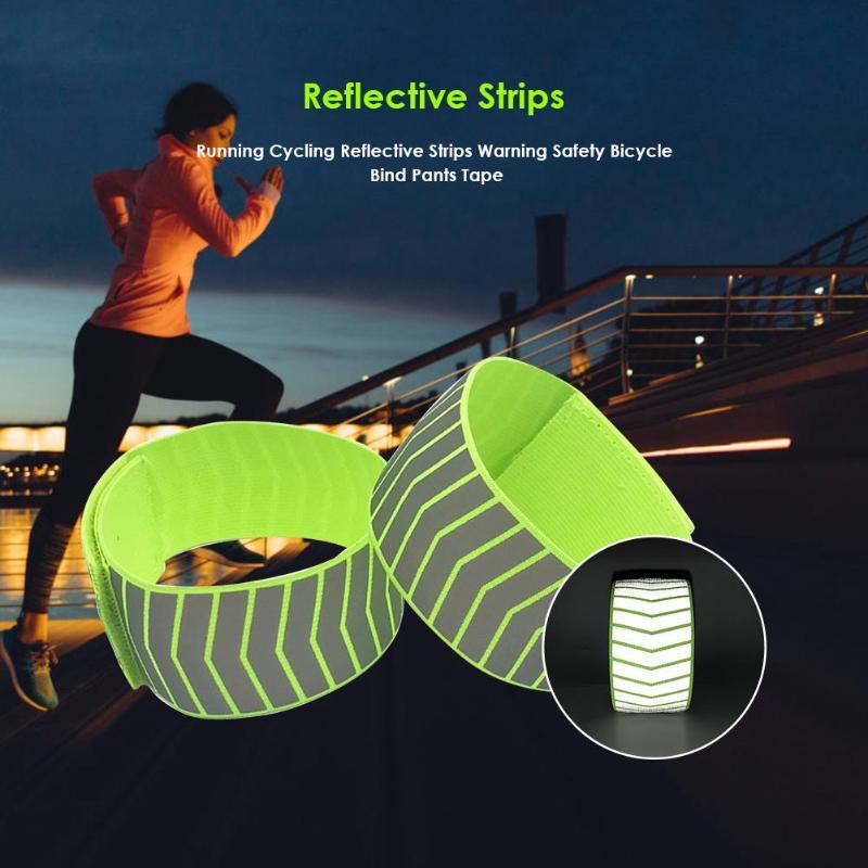 Running Cycling Reflective Strips Warning Bike Safety Bicycle Bind Pants Hand Leg Strap Reflective Tape