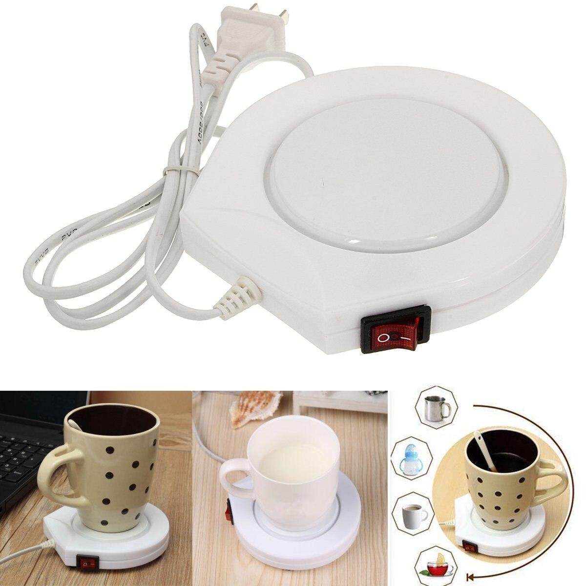 220 V Putih Bertenaga Listrik Cup Warmer Pad Pemanas Kopi Teh Susu Mug Dapur Kantor Rumah Hangat Musim Dingin