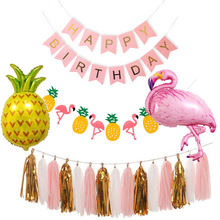 Summer Party Decoration Kit Pineapple  Banners Flamingo Balloon Hawaii Birthday Bridal Shower Wedding Supplies