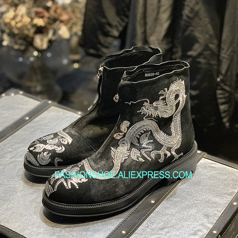 2018 Free Shipping Hot Print Dragon Boots Suede Leather Mens Winter Snow Boots Hot Mens Shoes худи print bar electro dragon