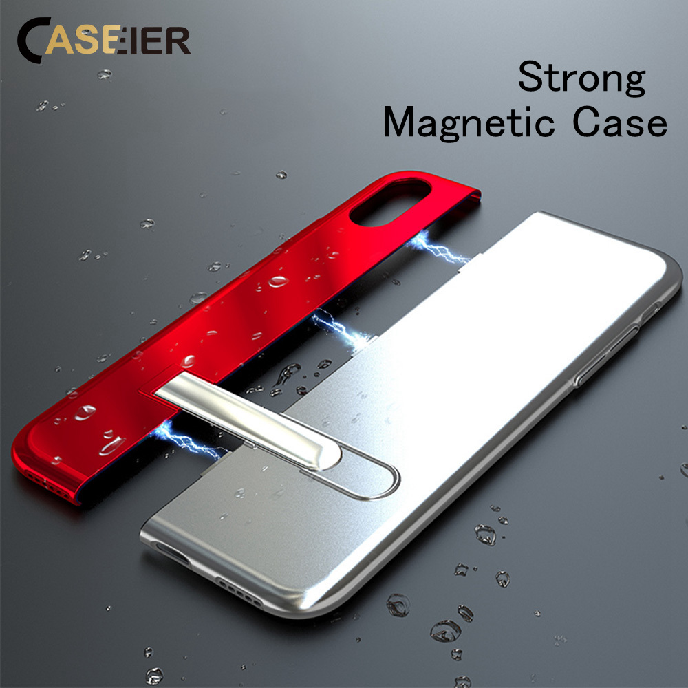 Galleria fotografica CASEIER Adsorption Magnetic Case For iPhone Xr Cool Metal Magnet Cover For iPhone 6 6s 7 8 Plus X XR XS Max Holder Coque Funda