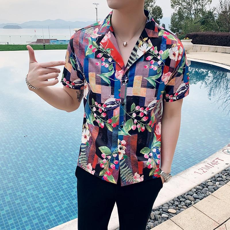 2019 Kurzarm Strand Hawaiian Shirt Für Männer Digital Print Slim Fit Männer Sommer Männlichen Hemd Marke Shirt Kleid Camisa Masculina