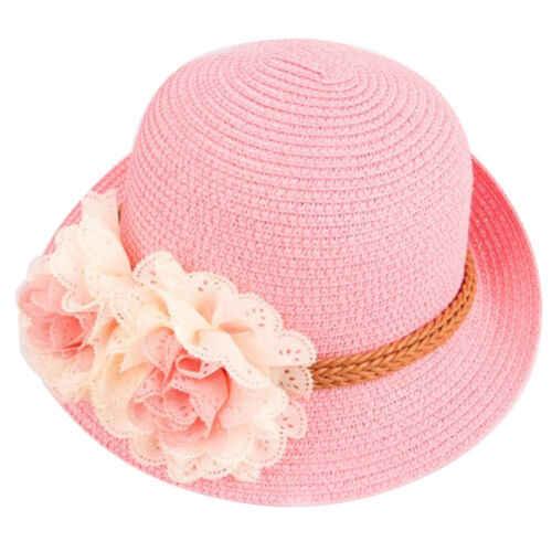 Детская Солнцезащитная шляпа принцессы для девочек, пляжная шляпа с цветами, детская соломенная Гибкая шляпа с широкими полями, бежевая, розовая, белая, хаки