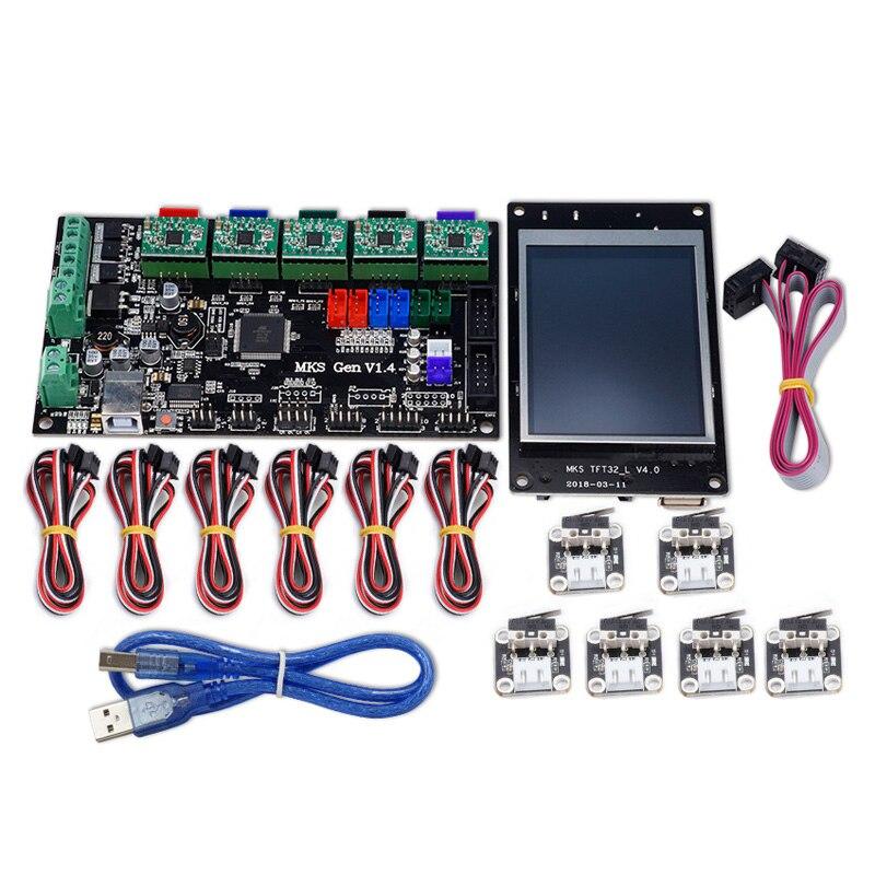 Mks-gen V1.4 Controller Moederbord + Mks Tft32 Lcd-scherm + 6 Pcs Eindschakelaar + 5 Pcs 4988 Driver Kit Voor 3d Printer Weelderig In Ontwerp