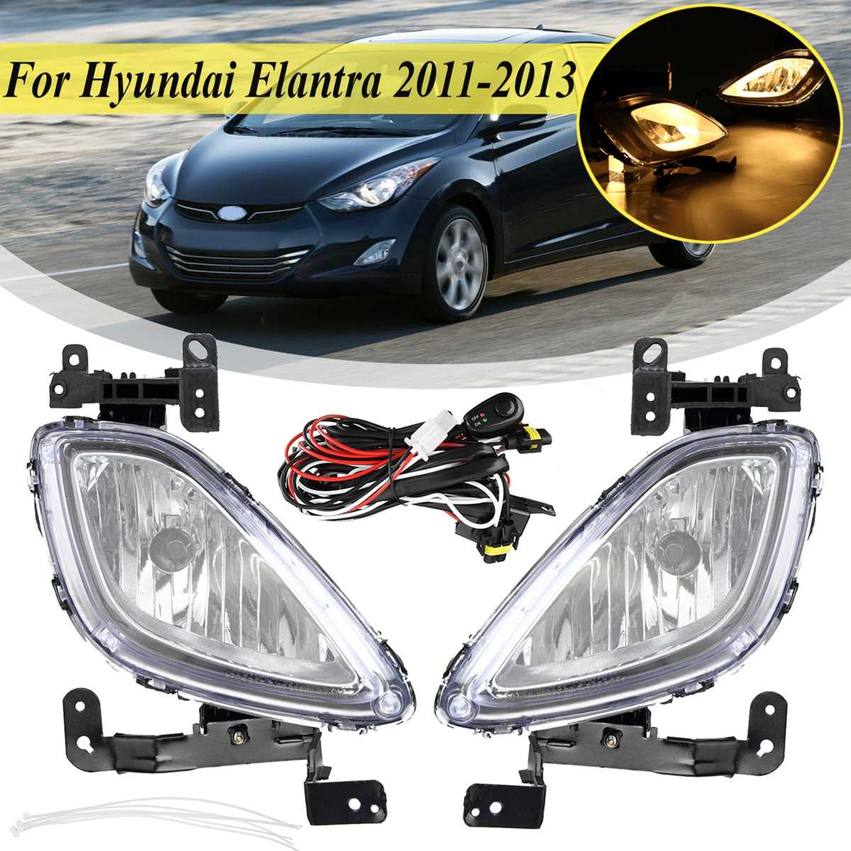 For Original 1 Pair Car Front Fog Light For Hyundai Elantra 2011 2012 2013 Lamp With Wire Bulb  Driving Drl Light Replacement