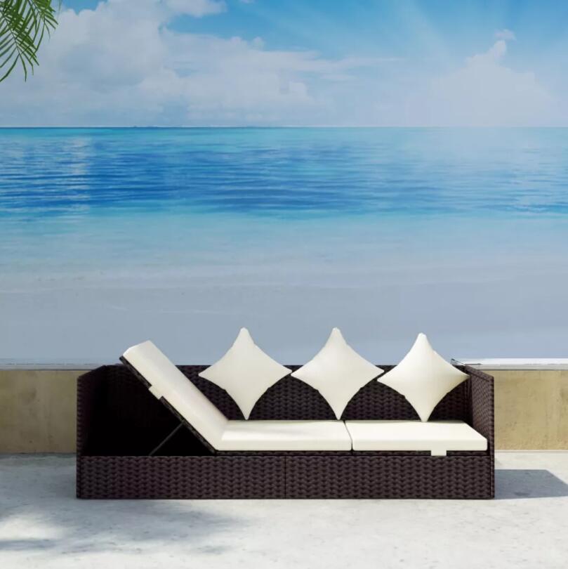 VidaXL Polirattan Garden Sun Lounger With Brown Cushions Includes 1 Rattan Deckchair, 1 Large Pillow And 4 Small Cushions