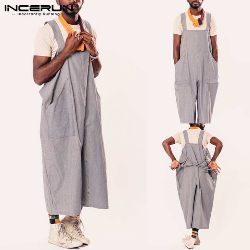 fc54b6f0571 Streetwear Men Coveralls Wide Leg Pants Dungarees Casual Jumpsuits Long  Trousers Overall Rompers Hombre Vacation Coverall Pants