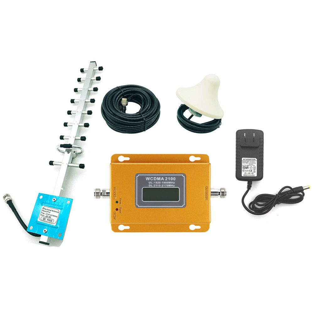 CDMA 3G 4G 2100MHz LCD 3G Mobile Phone Signal Booster Repeater Amplifier With High Gain Aerial Portable Signal Extender
