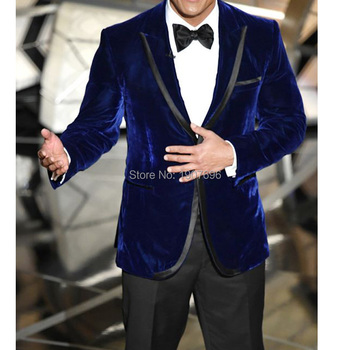 Two Piece Royal Blue Velvet Men Suits For Prom Party Peaked Lapel Winter Man Suit Set Jacket Pants