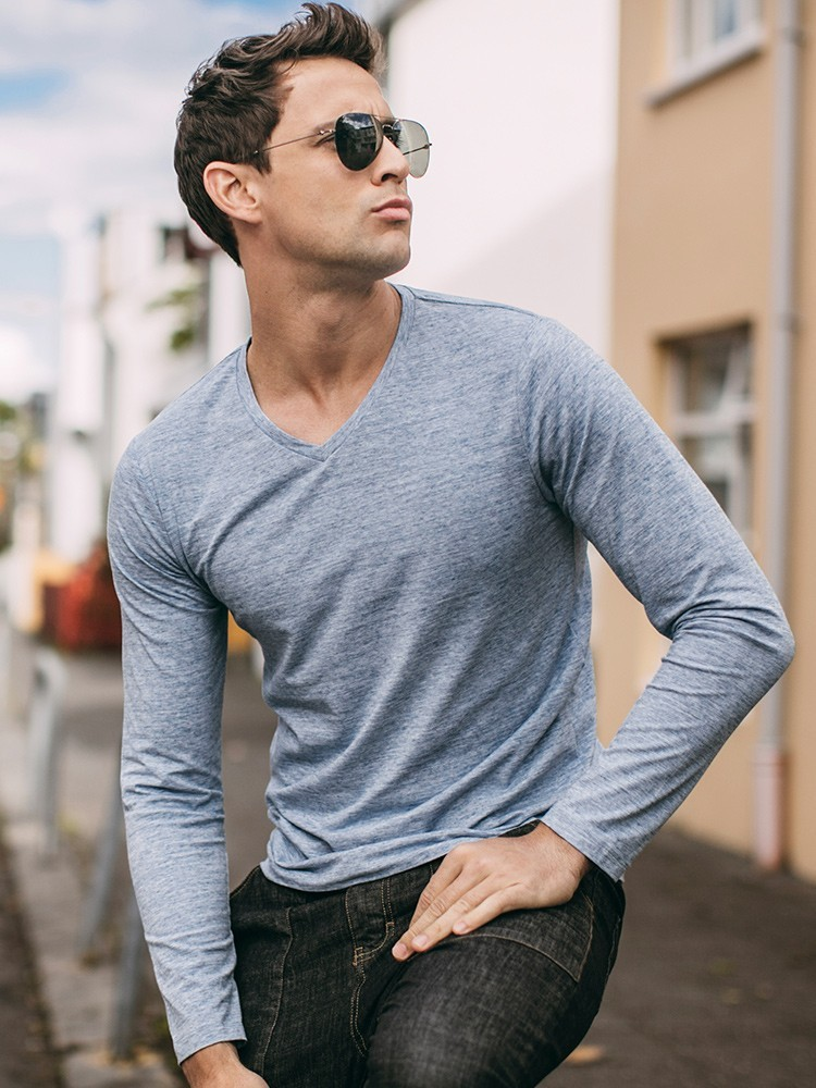 Autumn Men T Shirt Cotton V-Neck Blue Color For Man Casual Long Sleeve Slim Fit T-Shirt Male Wear 2018 New Tops Tee Shirt 268 3
