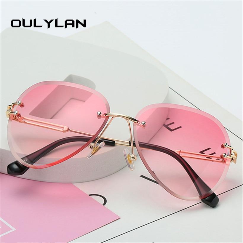 Oulylan Rimless Sunglasses Women Brand Designer Sun Glasses Gradient Shades Cutting Lens Ladies Frameless Metal Eyeglasses UV400 3