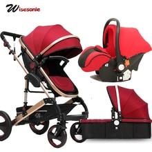 Wisesonle Детские коляски 2 в 1 / 3 в 1 коляска лежа или отключение складной легкий seasons Россия
