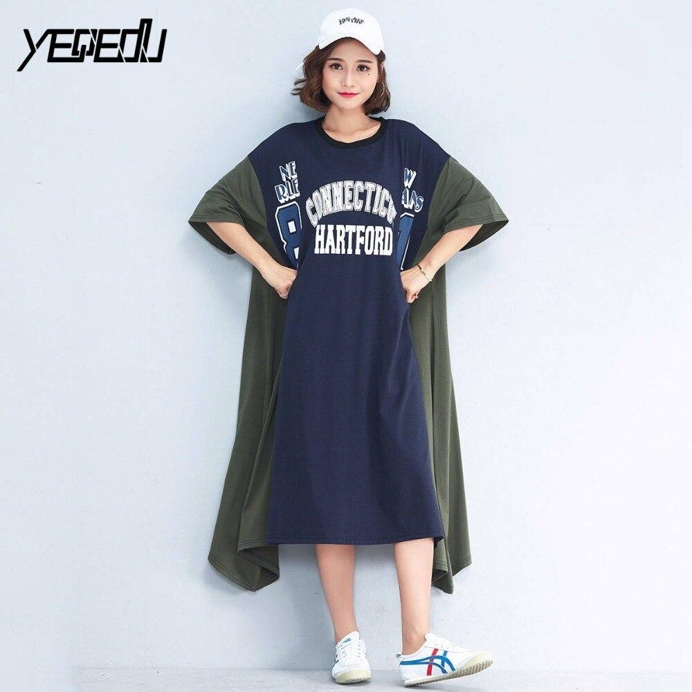 #1706 2019 Summer Print Letter t shirt dress Women Short Sleeve Oversize Long Dresses Plus Size Loose Cotton O-neck Harajuku