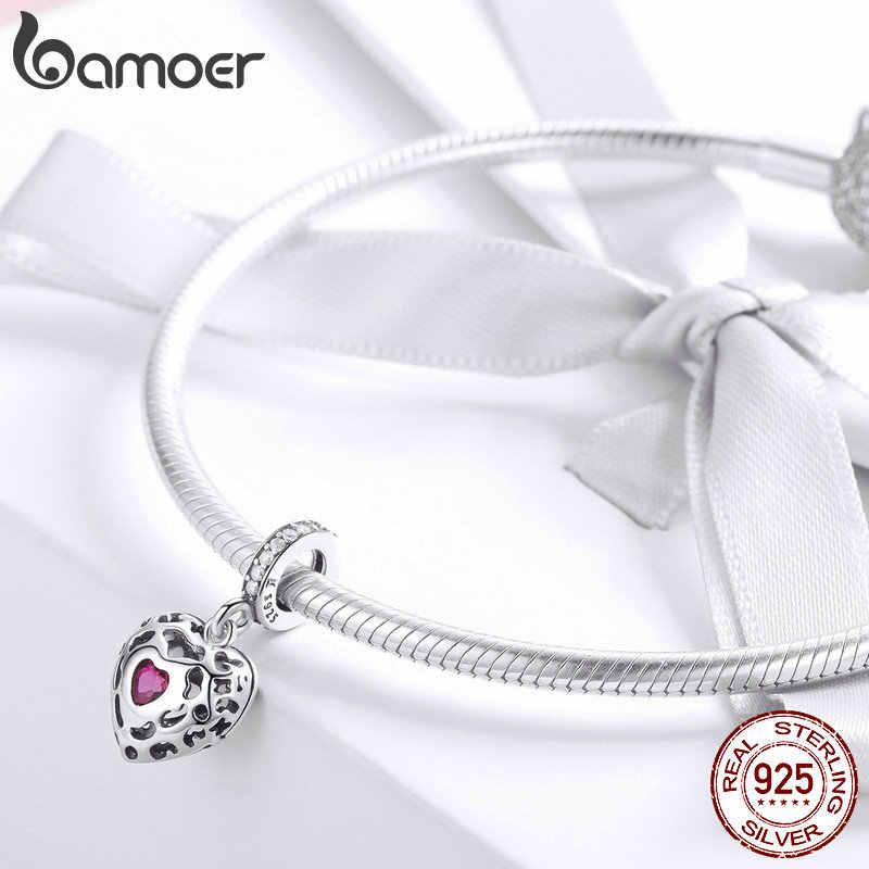 BAMOER романтическое серебро 925 пробы счастье сердце розовый CZ кулон Подвески подходят оригинальные браслеты ожерелья DIY Ювелирные изделия SCC1007