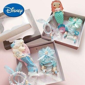 Disney Princess Comb Hair Rope Headwear Set Frozen Elsa  Ariel Cartoon 3D Stereo Air Cushion Comb Girl Headwear Hair Ring Set