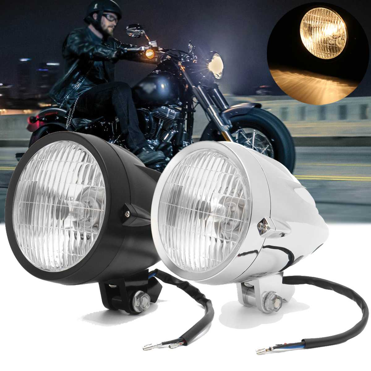 12V Bullet H4 Tri-Bar Halogen Motorcycle Vintage Headlight Lamp Bulbs For Harley Bobber Chopper Custom