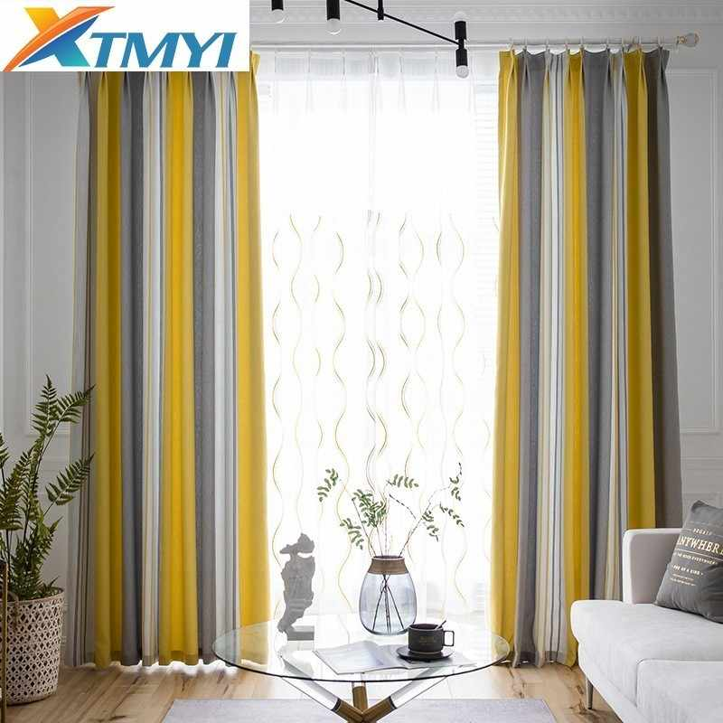 Stripes High Shade Curtains For Living Room Bedroom Kitchen Curtains Custom Stitching Curtain Home Decor