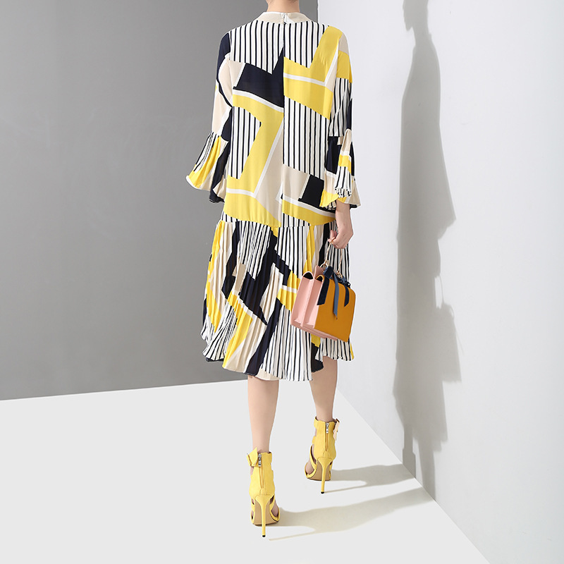 EAM 2019 New Spring Summer Stand Collar Long Flare Sleeve Pattern Striped Printed Pleated Loose Dress Women Fashion Tide JO585 in Dresses from Women 39 s Clothing