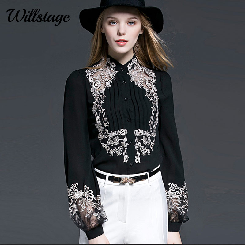 Willstage New 2019 Spring Blouse Women Floral Embroidery Long Sleeve Shirts Mesh Hollow out Office ladies OL Work Wear Black Top