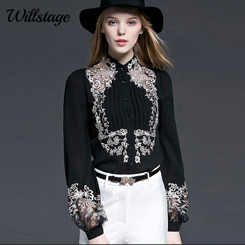 907bd0ae60ac Willstage nuevo 2019 blusa de primavera para mujer con bordado ...
